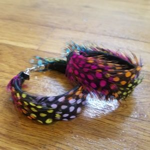 Jewelry - spotted feather hoop earrings - multi colored